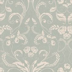 Twiggy Edwardian (104503) - Twiggy Wallpapers - Twiggy's classical design of a beautiful Edwardian floral-damask in pearlescent dove-white on a stunning duck-egg blue background with a subtle vertical grain-effect. Additional colourways also available. Please request sample for true colour match.