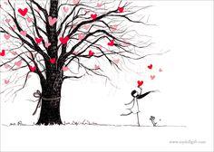 Love Tree, by Charllotte Ashlie.   Art print available, www.mydollgift.com  #art #illustration #drawing #dog #love #tree