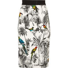 Milly Lana printed stretch-cotton pencil skirt found on Polyvore