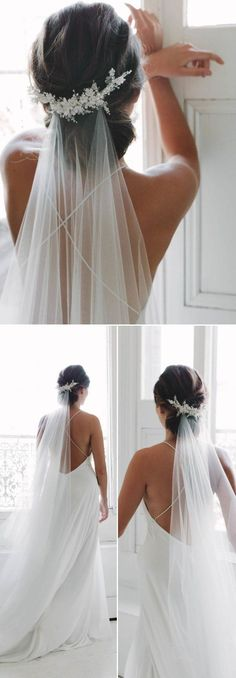 VERY elegant and romantic! Perfect for a traditionnal wedding! Top 20 Wedding Hairstyles with Veils and Accessories | Forevermorebling | Wedding Blog #weddinghairstyles