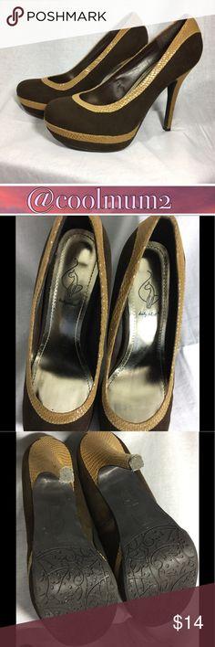 "👠Baby Phat Heels👠 Baby Phat Heels Size 9 Faux Suede 5"" Heel 1"" Platform EUC Chocolate Brown w/Taupe Trim Baby Phat Shoes Heels"