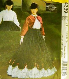 Jacket Silhouette- mcCalls patterns Victorian Dress Pattern 4339 Size EE by TheIDconnection, $25.00