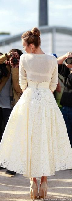 winter white street style - lace full skirt and cream sweater