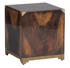 Addison Solid Polished Wood Art Deco Brass Cube Ottoman End Table Cube Side Table, Chair Side Table, Art Nouveau, Multipurpose Furniture, Modern End Tables, Table Furniture, Furniture Refinishing, Deco Furniture, House Furniture