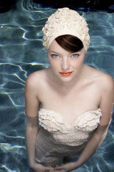Emma Stone | More retro beach looks here: http://mylusciouslife.com/photo-galleries/beach-pool-and-outdoor-living/