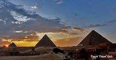 Trips in Giza Pyramids Cairo Egypt; Sunset View of Giza Pyramids and Sphinx, Egypt. #Cairo #Giza #Excursions #Tours #Trips