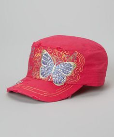 d18b4901ac2 Love this Hot Pink Butterfly Distressed Cadet Cap on  zulily!  zulilyfinds  Pink Butterfly
