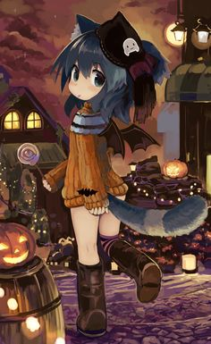 HAPPY HALLOWEEN~~★kawaii Lolis Anime, Anime Girl Neko, Neko Cat, Anime Chibi, Manga Girl, Anime Art, Anime Halloween, Halloween Drawings, Halloween Witches