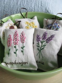 Lavender Sachet Hand Embroidered Flowers by allisajacobs on Etsy Amy Butler, Ribbon Embroidery, Cross Stitch Embroidery, Embroidery Patterns, Embroidery Needles, Art Patterns, Lavender Bags, Lavender Sachets, Pot Pourri