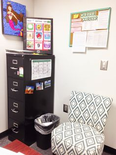 Welcoming/Counseling Tool- comfy/colorful chair, resources, filing cabinet Cool Office, Office Setup, Small Office, Office Decor, Office Ideas, School Counselor Office, High School Counseling, Classroom Organization, Classroom Decor