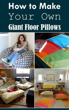 How to Make Your Own Giant Floor Pillows DIY Roundup We definitely need giant floor pillows! Giant Floor Pillows, Floor Cushions, Home Crafts, Diy Home Decor, Fall Crafts, Sewing Projects, Projects To Try, Diy Pillows, Pillow Ideas