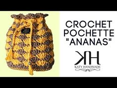 "Tutorial pochette ""Ananas"" uncinetto | How to make crochet bag | Punto ventaglio || Katy Handmade - YouTube"