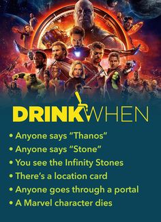 Avengers: Infinity War Drinking Game Drink When Avengers Infinity War Trinkspiel Friends Drinking Game, Tv Show Drinking Games, Drinking Game Rules, Outdoor Drinking Games, Adult Drinking Games, Drinking Games For Parties, Adult Games, Alcohol Games, Alcohol Drink Recipes