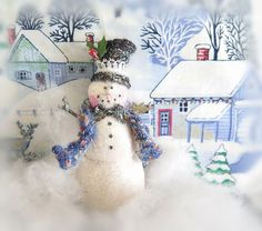 Snowman Ornament Top Hat Christmas Snowman by CharlotteStyle