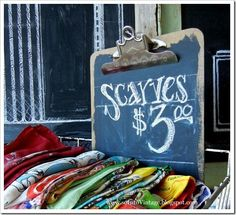 craft store display | love this chalkboard clipboard | Store & Craft Show Display Ideas