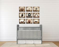 Sports Themed Canvas Wall art for boys, Vintage Sports Set of 9 Canvas prints ready to hang, multiple sizes available, Vintage themed baseball, basketball, soccer, football, golf, lacrosse and boxing. This listing is for a set to 9 Stretched Canvases Ready to hang in whatever size you choose from the drop down menu. They are each Mounted on a .75 inch wood Stretcher frame and are printed on 430gsm poly-cotton blend canvas are museum quality and archival for more than 100 years. They come...