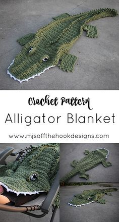 Crochet Afghans 539657967843833025 - Ravelry: Bulky & Quick Alligator Blanket pattern by MJ's Off The Hook Designs Source by clemencemicheli Crochet Afghans, Motifs Afghans, Débardeurs Au Crochet, Bonnet Crochet, Afghan Crochet Patterns, Crochet Gifts, Crochet For Kids, Crochet Toys, Crochet Stitches