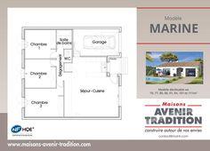 Plan modèle Marine Porche, Floor Plans, Plants, Houses, Living Room Kitchen, Floor Plan Drawing, House Floor Plans