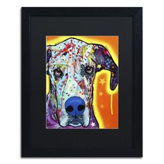 "Trademark Art ""Great Dane"" by Dean Russo Matted Framed Painting Print Size: 20"" H x 16"" W x 0.5"" D"