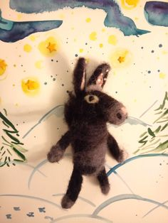 Handmade Needle felted donkey toy by Troha. Watercolor illustrations