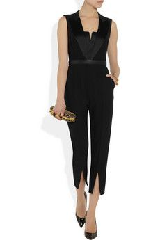 Alexander McQueen                                  Silk satin-trimmed crepe jumpsuit                              Was $2,395  Shown here with: Eddie Borgo bracelet, Alexander McQueen bracelet and clutch, Miu Miu belt, Christian Louboutin shoes.