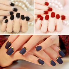 24Pcs Artificial Nails Tips Full Fake Matte Texture French Nail Art Manicure
