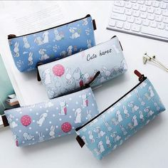 """Cute Hares"" Pencil Bag Study Pencil Case Faux Leather Pocket Study School Stationery Bag #Affiliate"