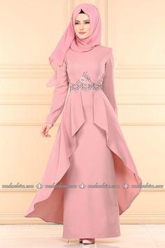 fashion selvim Cloak Looking Evening Dress Powder - Women's Hijabs Hijab Evening Dress, Hijab Dress Party, Hijab Style Dress, Modest Fashion Hijab, Dress Indian Style, Abaya Fashion, Evening Dresses, Islamic Fashion, Muslim Fashion