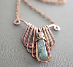 Egyptian design geometrical copper necklace with by IngoDesign