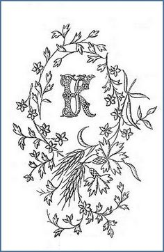 1900 embroidery motif-K and J letters by april-mo, via Flickr