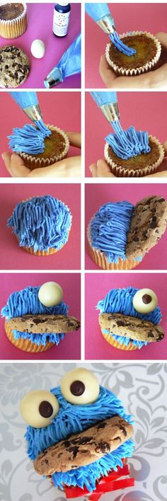 Tutorial: Cupcakes Cookie Monster (chocolate cupcake recipes for kids)