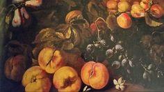 BARTOLOMEO CASTELLI called SPADINO JUNIOR ( Roma 1696 - 1738 ). NATURA MORTA CON PERE, PESCHE ED UVA. olio su tela. 45,5 × 59 cm.
