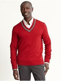 Love this biz casual look - bright sweater, simple pants/shirt. Perfectly polished!