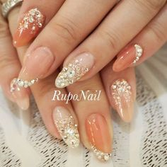 nails - Rie Hiramatsuのネイルデザイン[No Stylish Nails, Trendy Nails, Cute Nails, Bride Nails, Wedding Nails, Gel Designs, Nail Art Designs, Asian Nails, Korean Nail Art