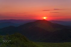 Sunset in Bieszczady - Photo shows Połonina Wetlińska and Smerek on amazing sunset...