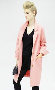 Pink Long Sleeve Lapel Oversized Cocoon Coat - Sheinside.com