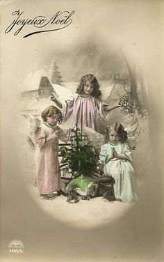 free printable, French xmas card, 3 Christmas angels ~ Victorian graphic