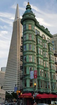 Two famous buildings side by side. San Francisco, California