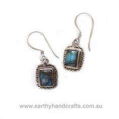 Square Rainbow Stone Earrings