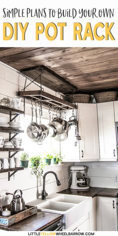 A rustic farmhouse pot rack that you can DIY over the weekend. Easy woodworking plans that take you step by step through the entire process. This DIY project is great for small kitchens to create additional storage space. A rustic farmhouse p Kitchen Projects, Rustic Kitchen Design, Small Kitchen, Diy Pots, Farmhouse Pot Racks, Simple Woodworking Plans, Easy Woodworking Projects, Kitchen Renovation, Wooden Diy