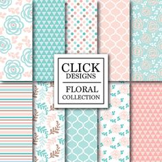 Floral Digital Paper: FLORAL PINK MINT Floral by ClickDesigns