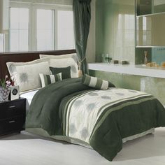 Grace Sage & Beige Queen Size Luxury Micro Suede Comforter Set including Comforter, Skirt, Throw Pillows and Pillow shams by Royal Hotel Green Comforter, Bed Comforter Sets, Dorm Bedding, Comforters, King Pillows, Pillow Shams, Throw Pillows, Green Queen, Black Bed Linen