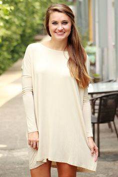 Piko - Scoop neck tunic dress - Sand – Love June Boutique