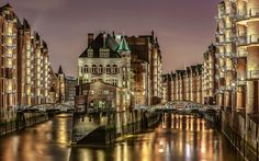 Download wallpapers Hamburg, city lights, night, Elbe river, bridges, Germany