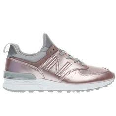 8070404f8a6e womens new balance rose gold 574 sport metallic trainers Metallic Trainers,  Rose Gold Trainers,