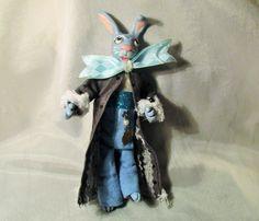 One Of A Kind Bears Professional Sale Pink Bunny Doll Ooak Folk Art Handmade Fabric Polymer Rabbit Happy Easter Basket