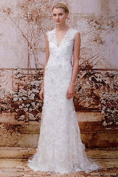 monique lhuillier wedding dresses fall 2014 liberty chantilly lace v neck gown