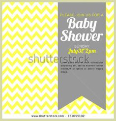 Unisex Baby Shower Invitation - yellow and white chevron background - vector illustration EPS10