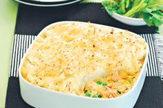 Tuna and vegetable pie with mashed potato topping
