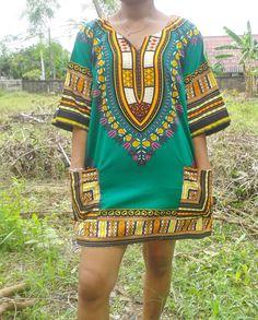 Bright Green African Dashiki Unisex Shirt. Colorful by YARAdESIGNS